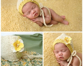 Knitted Girl Photo Prop Newborn Boy Bonnet Baby Hand Knit Hat Coming Home Cap Shower Gift Going Spring Outfit Yellow Organic Layering Set