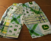 John Deere Tractor Boys Blue Plaid SHORTS Slip on 6 months to 6 years.
