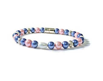 Blue/Pink/White Pearl Magnetic Hematite Bracelet, Health Jewelry, Pain Relief