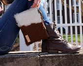 READY to SHIP-Cow Hair Leather Clutch - Brown and White Leather Bag - iPadMini Wristlet - Womens Handmade Handbags - Cow Hair Bag