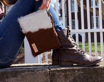 READY to SHIP-Cow Hair Leather Clutch - Brown and White Leather Bag - iPadMini Wristlet - Womens Handmade Handbags - Cow Hair Bag
