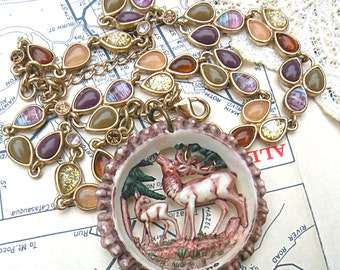 woodland necklace fall deer assemblage stag forest upcycle browns