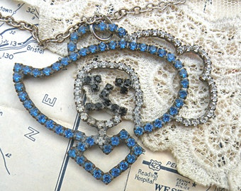 lady head necklace assemblage rustic rhinestone pendant mae west looking
