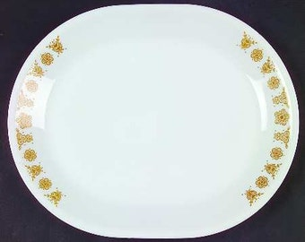 Vintage Oval Platter, Corelle Livingware Butterfly Gold Pattern,  Pyrex Compatible, 1970s, Sunday Dinner, Corning