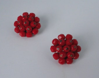 LAGUNA  Red Faceted Glass Bead Cluster Clip  Earrings