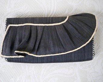 Vintage Handbag Clutch Black Straw Purse Summer Purse