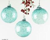 Blown Glass Ornament Suncatcher Teal Blue Green Ice