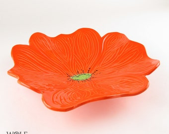 Ceramic Sculpture Wall Art Bright Orange Poppy Flower Home Decor Wall Decor