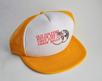 Vintage Golf Cap Humor 80s Goldenrod Mesh Trucker Hat Snapback Retired