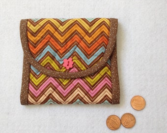 Coin Purse, change case, business card holder, purse organizer, brown and orange chevron, gift idea for mom, friend, coworker, sister