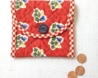 Coin Purse, change case, business card holder, purse organizer, red flowers, gift idea for mom, friend, coworker, sister
