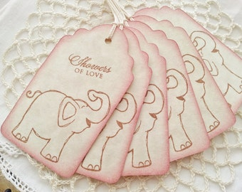 Baby Shower Tags Baby Elephant Rose Pink Edge Set of 6