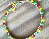 Anklet in Red Yellow and Green Size Choice