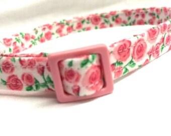 Pink Cat Collar Girl Tiny Roses Fabric Bell Breakaway