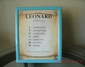 Name Meaning Framework - Personalize (Leonard) - Novelty - Wall Decor - Art Collectible - Home Living - Home Office Decor - Home Improvement