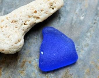 Cobalt Blue Seaglass Triangle. Undrilled. Lot P8