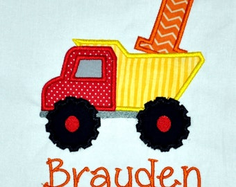Birthday Boy Outfit - Personalized First Birthday Dump Truck Appliqued Body Suit or T-shirt, Sizes 12, 18, 24 month