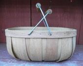 Vintage Primitive Split Wood Basket with Handles