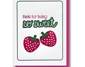 Sweet Berry Thanks | Foodie | Strawberry Letterpress Card | kiss and punch