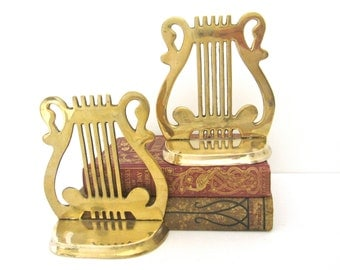 Vintage Brass Musical Lyre Bookends Bookends, Music Harp Bookends