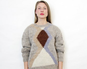 Vintage sweater / handmade gray geometrick knit jumper / size M, L
