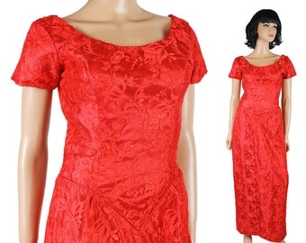 80s Prom Dress XS Red Satin Floral Lace Long Gown Fitted Wiggle Short Sleeve Free Us Shipping