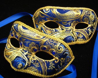 Zaffiro Coppia Mask, Male/Female Paired Sapphire blue and gold Brodcade Covered Masquerade Mask with 3D Swirl and Rhinestones