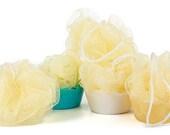 40 Mini Yellow Facial Scrubbing Poufs