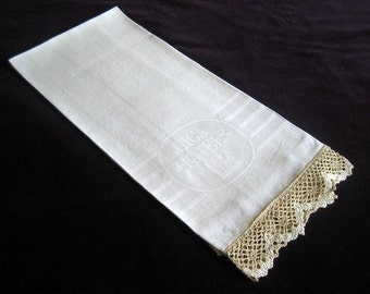Table Cloth Towels Runner Kitchen Bath Guest Towel Huck White Hotel Drawn Lace