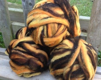 Alpaca Wool Roving, Spinning, Felting, Yellow, Orange, Brown