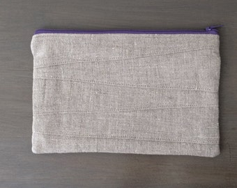 Linen Zipper Pouch, Clutch, Wristlet with Hand Block Printed Linen Lining