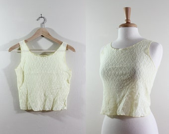 Vintage Sheer Yellow Stretch Lace Crop Top