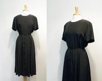Vintage Black Silk Full Skirt Short Sleeve Day Dress
