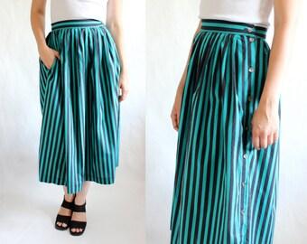 Vintage Laura Ashley Navy & Teal Stripe Cotton Midi Skirt