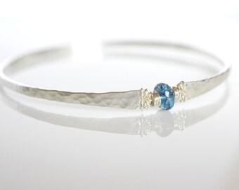 London Blue Topaz Bracelet December Birthstone Sterling Silver Hammered Bangle Bracelet Winter Jewelry Frost