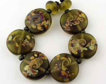 SRA Lampwork Glass Beads Set Lentil Organic Etched Olive Green 'Autumn  Meadow'