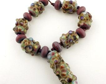 Lampwork Glass Beads Set SRA Sheila Davis Artisan Organic Purple Green'Tranquil'