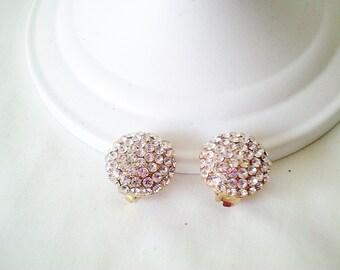 wedding earrings, rhinestone earrings, vintage earrings, 80s earrings, clip on earrings, round rhinestone earrings, eighties costume