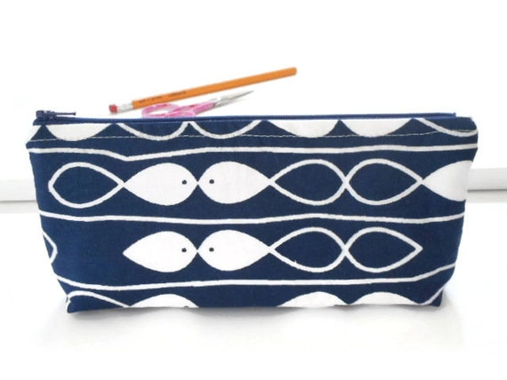 Geometric fish pencil case japanese cotton zipper pouch navy for Fish pencil case
