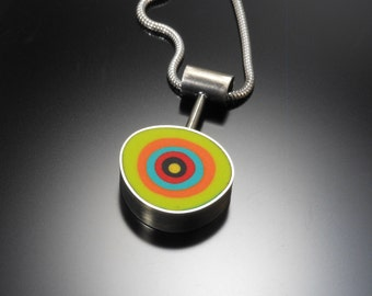 Sterling silver, polymer necklace #34