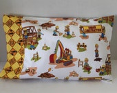 Toddler Pillowcase Fits 12 x 16 Pillow Construction Worker Pillowcase Men Working Road Construction Travel Size