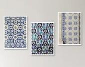 Pattern tiles photographic Lisbon azulejos prints posters set of 3 A5 size