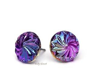 Cyclone Swirl Stud Earrings, 12mm Iridescent Purple