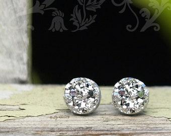8mm Bright Silver Faux Druzy Studs, Faux Druzy Stainless Steel Post Glitter Earrings