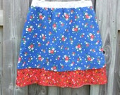 Blue and Red Vintage Fabric Floral A-Line Skirt with Pockets