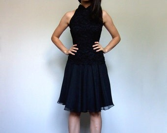 Lace Dress Women 80s Black Party Dress Lace Cocktail Dress Fit and Flare Dress LBD 80s Prom Dress - Extra Small to Small XS S