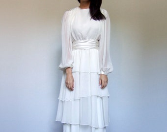 Ivory Dress Vintage 80s Tiered Ruffle Sheer Long Sleeve Gown Beaded Wedding Dress - Large L