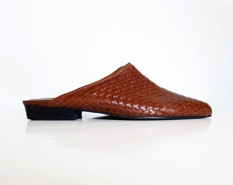 Leather Loafers Cognac Open Back Vintage 80s sz 6.5 Casual Woven Flats Brown Slip On Shoes Summer Slide Brazil