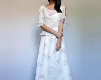 Boho Summer Dress Vintage Long 70s Ivory Floral Print Maxi Cowl Neck Flutter Sleeve Dress - Medium M