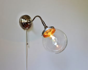 Crystal Ball Sconce Lamp, Stainless Steel Gooseneck Wall Sconce With A Clear Round Orb Glass Globe Shade, Minimalist BootsNGus Light Fixture